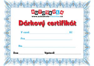 dárková certifikát